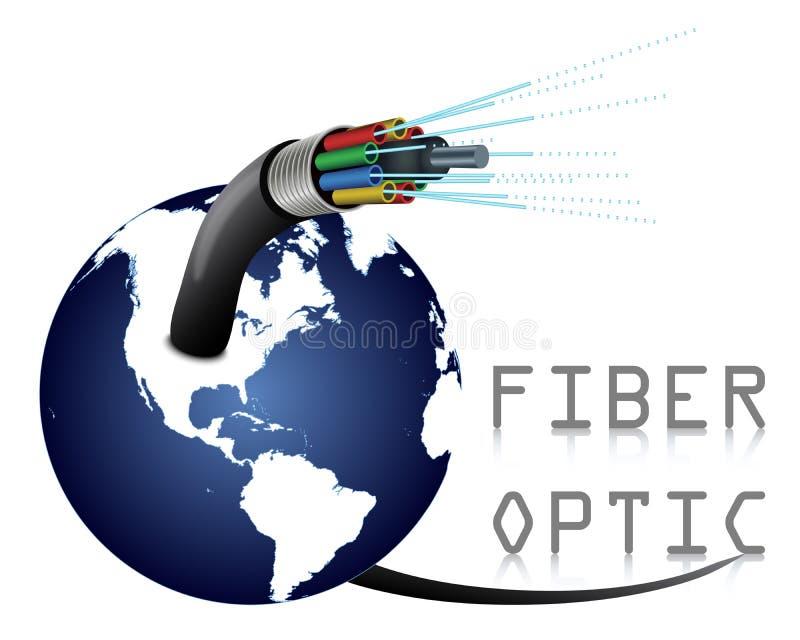 Optisk kabel för fiber med jord stock illustrationer