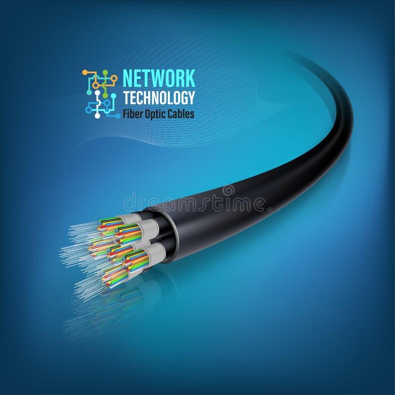 Optisk kabel för fiber för för fiber service för kommunikation för optiskt begrepp och advertizing royaltyfri illustrationer
