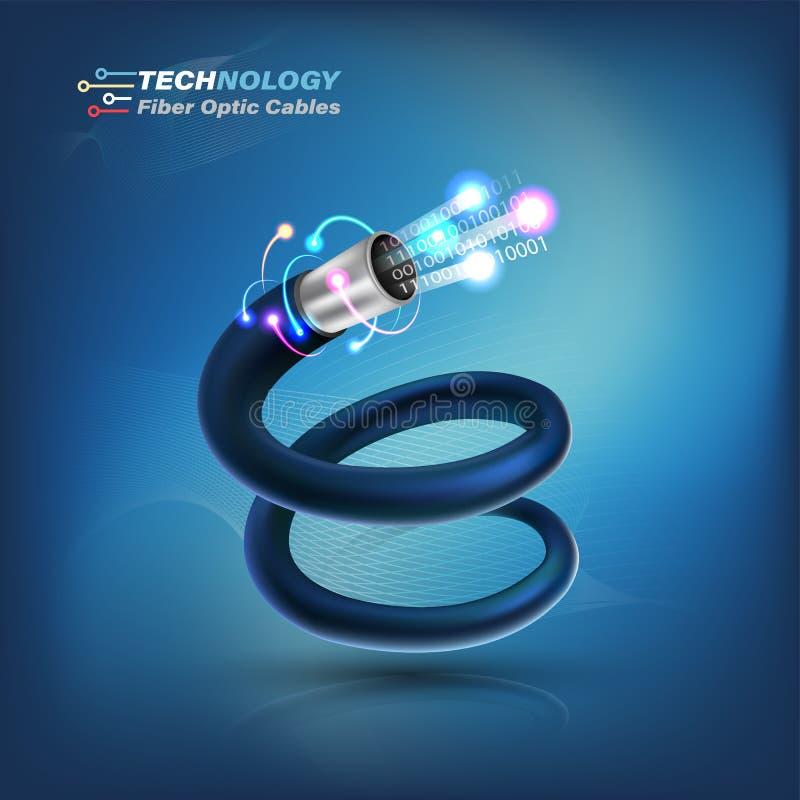 Optisk kabel för fiber för för fiber service för kommunikation för optiskt begrepp och advertizing stock illustrationer