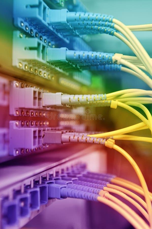 Optiska nätverkskablar och serveror fotografering för bildbyråer