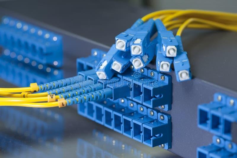 Optiska nätverkskablar och serveror royaltyfria foton