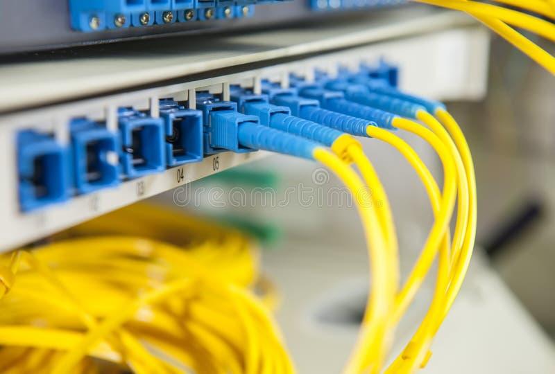 Optiska nätverkskablar och serveror royaltyfria bilder
