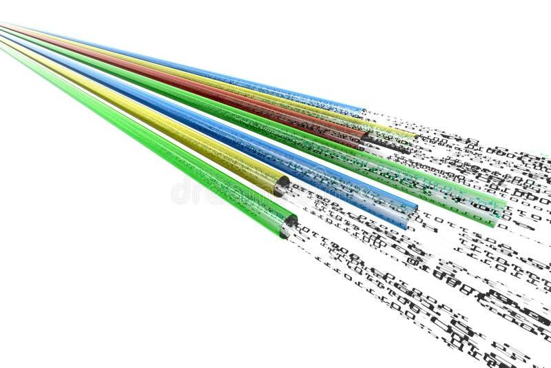 optiska trådar för dataflöde stock illustrationer