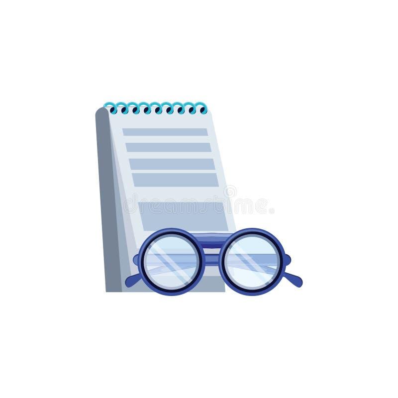 Optiskt glasögon med den notepad isolerade symbolen vektor illustrationer