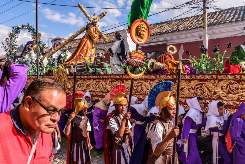 Optocht op eerste Zondag van Geleend, Antigua, Guatemala royalty-vrije stock fotografie