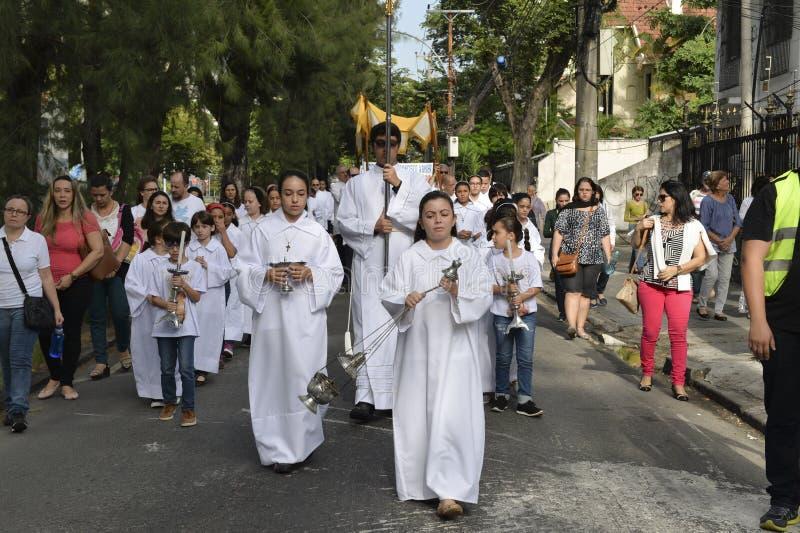 Optocht van de Kerk São Francisco Xavier stock foto's