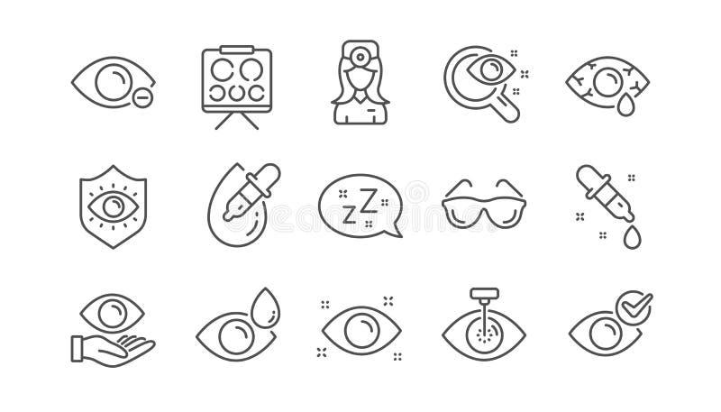 Optometria, linea icone dell'oculista Ambulatorio, vetri ed eyedropper medici dell'occhio del laser Insieme lineare Vettore royalty illustrazione gratis