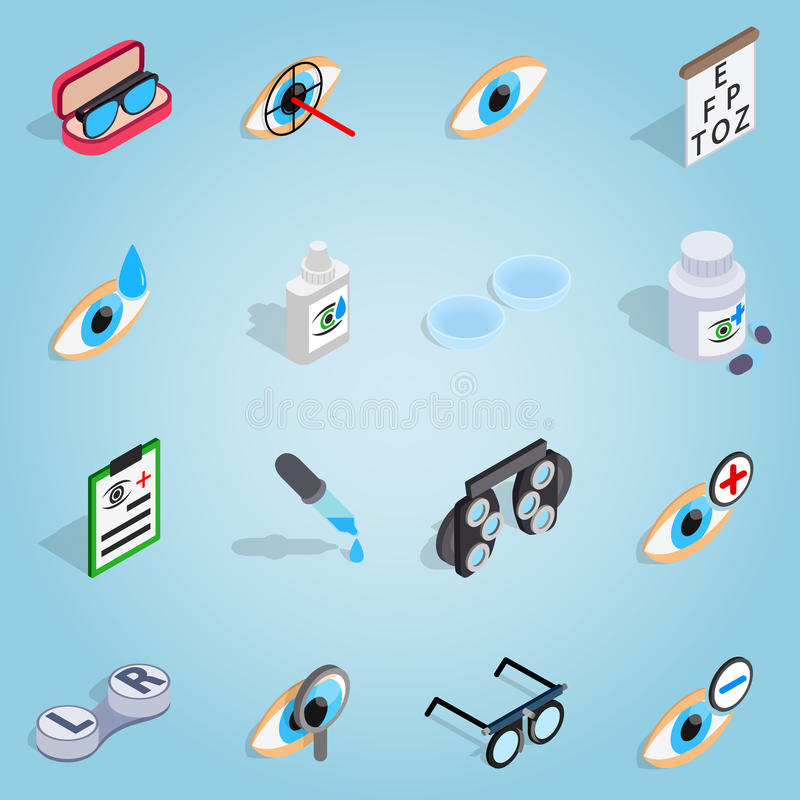 Optometrie vastgestelde pictogrammen, isometrische 3d stijl vector illustratie