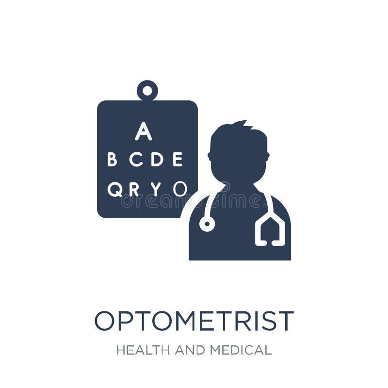Optometrikersymbol Moderiktig plan vektoroptometrikersymbol på vitt b royaltyfri illustrationer