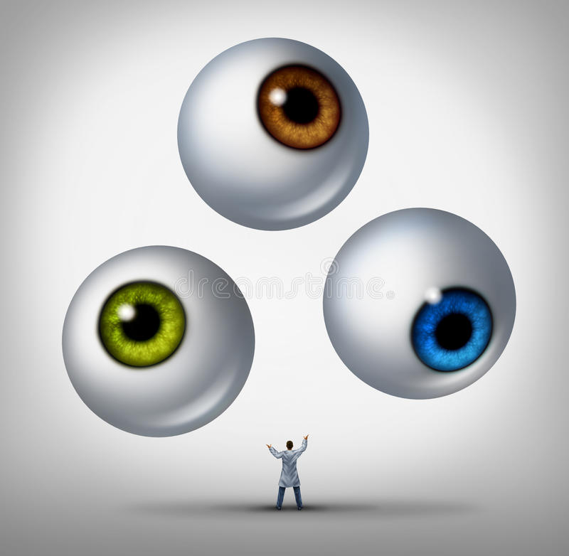 Optometrist Concept. Optometrist doctor concept and optician services symbol as a health professional juggling human eye balls as a metaphor for patient vision vector illustration