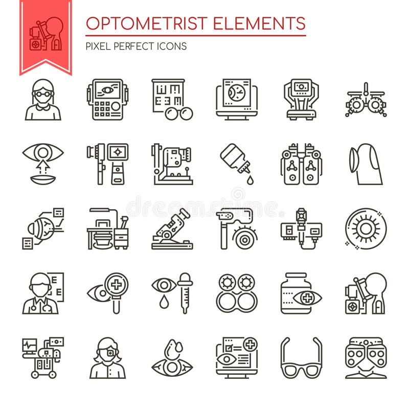 Optometrist Elements. Thin Line and Pixel Perfect Icons vector illustration