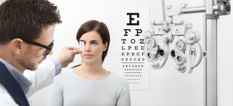 Optometrist examining eyesight, woman patient pointing at the ch. Optometrist examining eyesight, women patient pointing at the chart, eyes exam test stock image