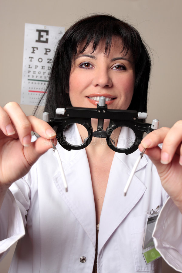 Optometrist eye test stock images