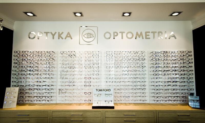 Optometrist and optician shop in Poland royalty free stock images