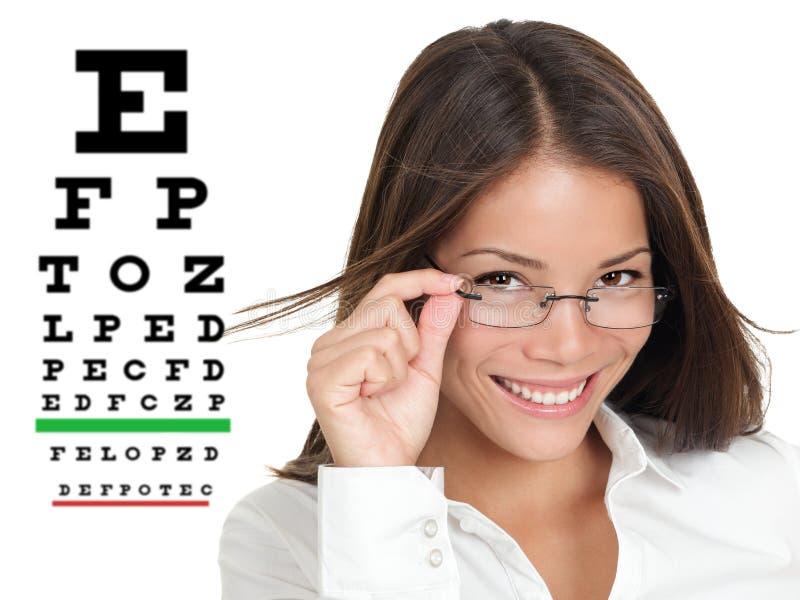 Optometrist of opticien met eyewear glazen stock afbeelding