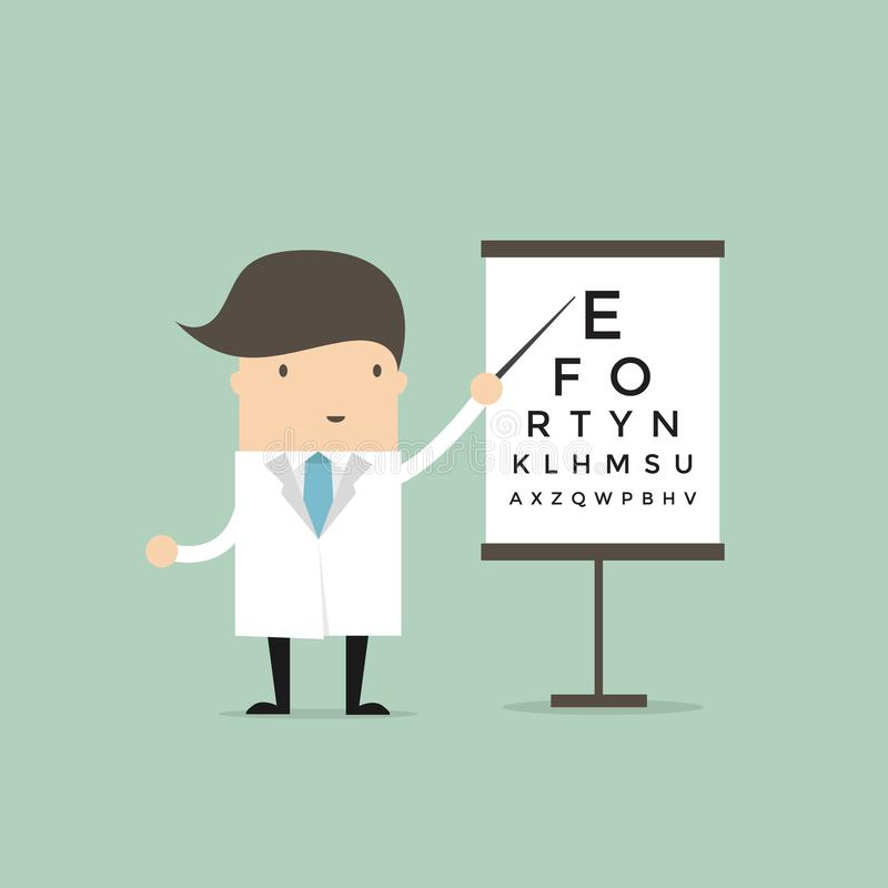 Optometrist points to the table for testing visual acuity. stock illustration