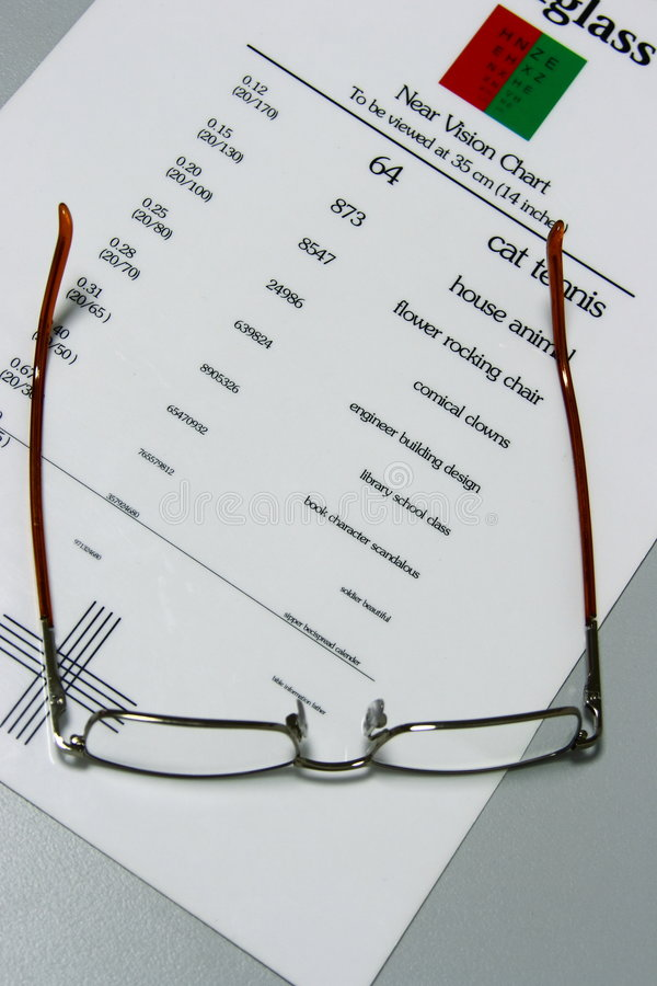 Optometry. Optometric testing table with eyeglasses royalty free stock photography