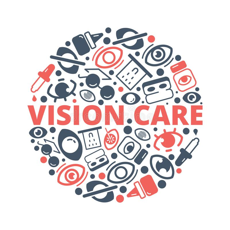 Optometry background. Eye lens ophthalmology equipments vision healthcare laser medical vector circle shape stock illustration