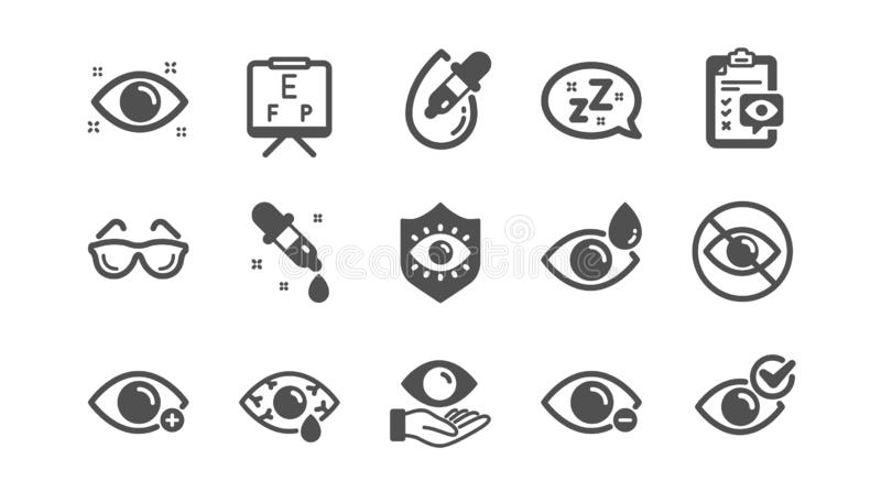 Optometry, Eye doctor icons. Medical laser eye surgery, glasses and eyedropper. Classic set. Vector. Optometry, Eye doctor icons. Medical laser surgery, glasses stock illustration