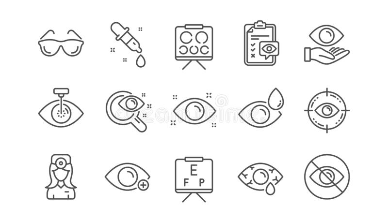 Optometry, Eye doctor line icons. Medical laser eye surgery, glasses and eyedropper. Linear set. Vector. Optometry, Eye doctor line icons. Medical laser surgery stock illustration