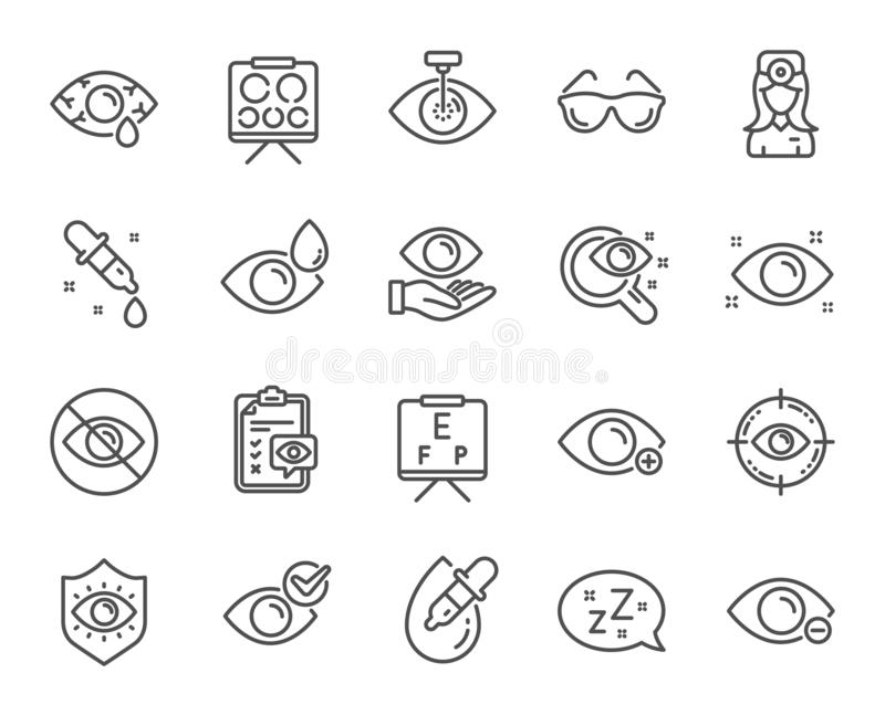 Optometry, Eye doctor line icons. Medical laser eye surgery, glasses and eyedropper. Vector. Optometry, Eye doctor line icons. Medical laser surgery, glasses and royalty free illustration
