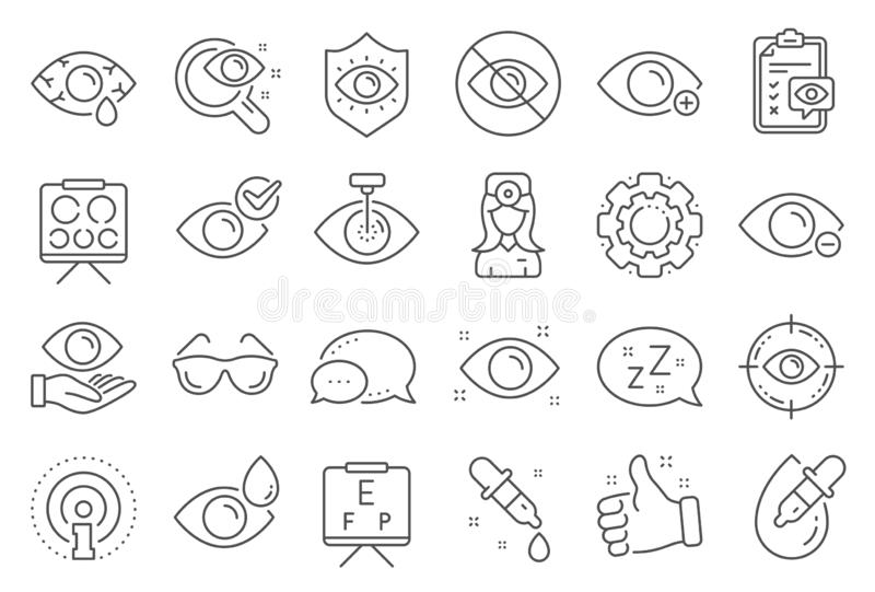 Optometry, Eye doctor line icons. Medical laser eye surgery, glasses and eyedropper. Vector. Optometry, Eye doctor line icons. Medical laser surgery, glasses and stock illustration