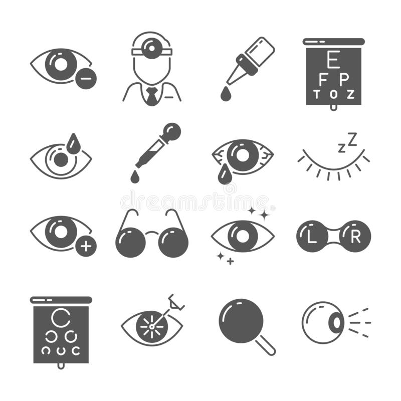 Optometry icons. Eye and glasses, vision and lens, laser surgery signs. Ophthalmology vector symbols. Optometry icons. Eye and glasses, vision and lens, laser stock illustration
