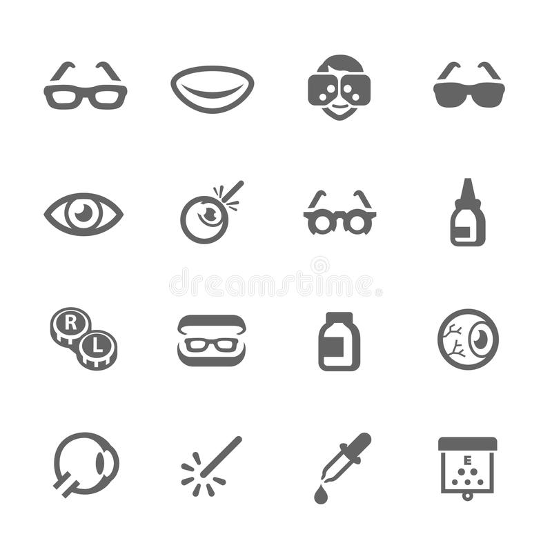 Optometry icons. Simple Set Optometry Related Vector Icons for Your Design vector illustration