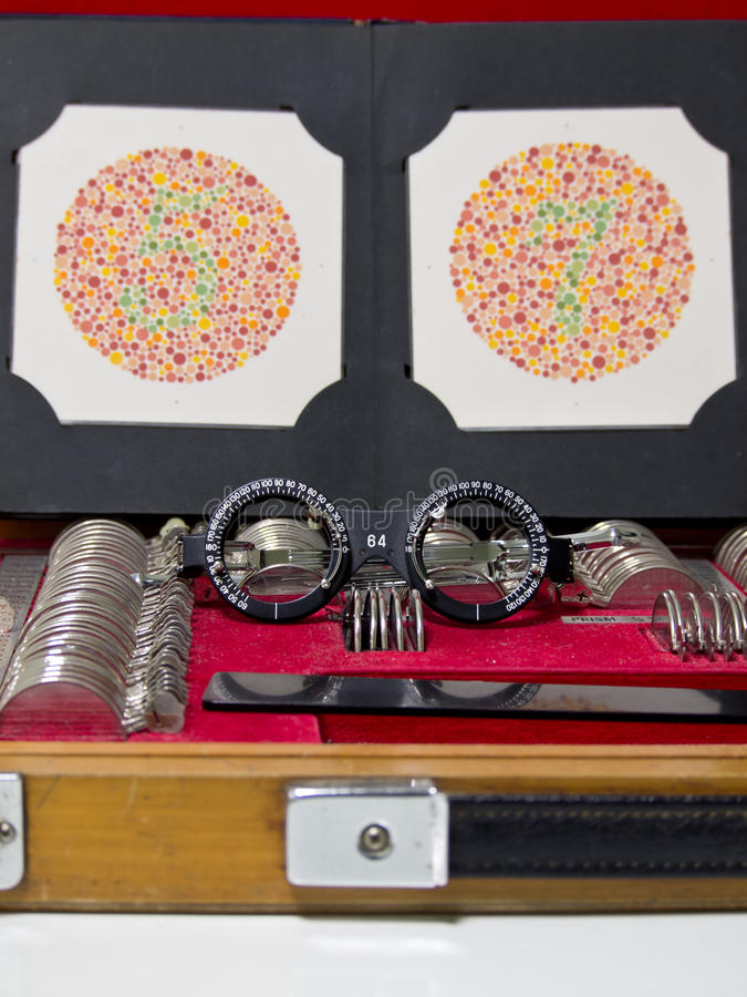 Optometry lens, eyeglasses and color blind test. Hospital equipment stock photos