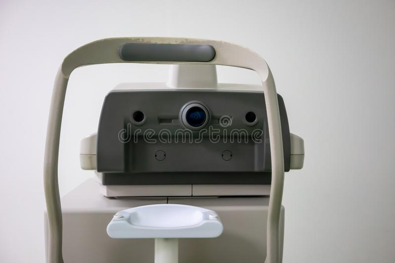 Optometry machine, Phoropter for corneal topography, Corneal exam royalty free stock images