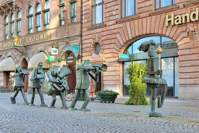 Optymista orkiestra - rzeźbi w Malmo, Szwecja fotografia royalty free