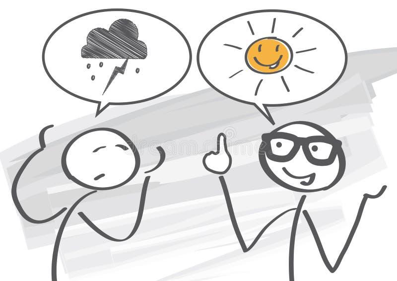 Optymista vs pesymista royalty ilustracja