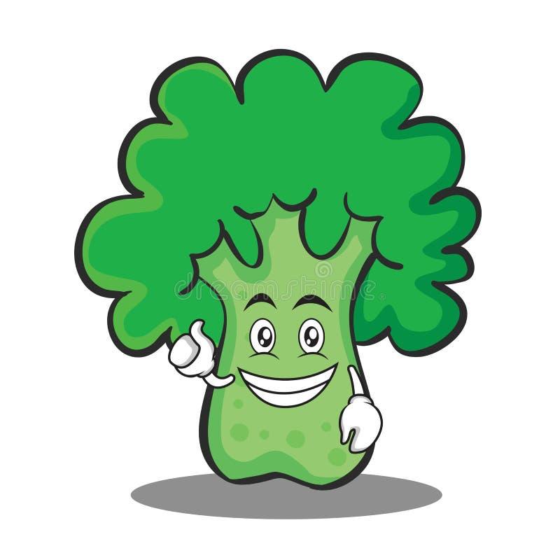 Optymistycznie brokułu charakteru kreskówki styl ilustracja wektor