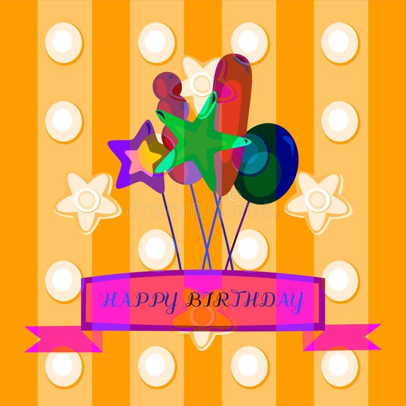 Optymistycznie dekoracyjna urodzinowa gratulacje ilustracji