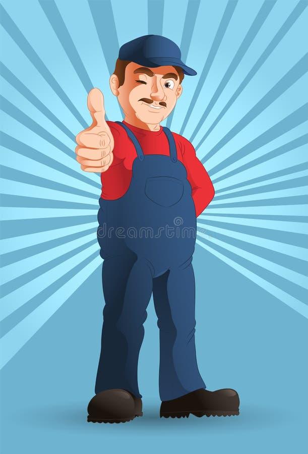 Optymistycznie przydatny mężczyzna ilustracji