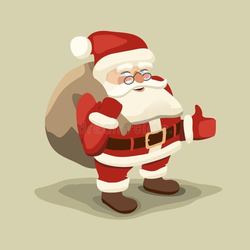Optymistycznie Santa niesie torbę prezenty royalty ilustracja