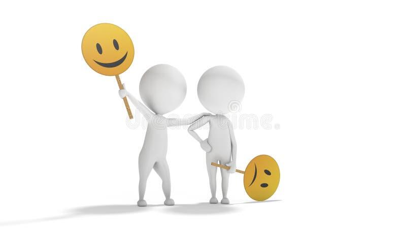 Optymizm versus pesymizm z białymi 3d ludźmi royalty ilustracja