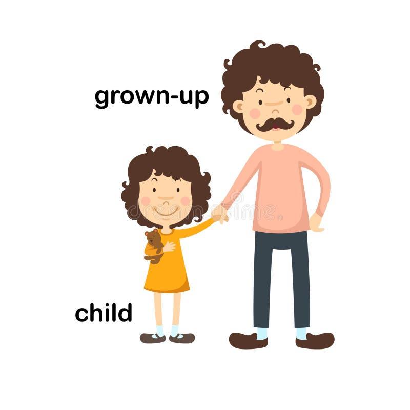 Opuesto crecido y niño ilustración del vector