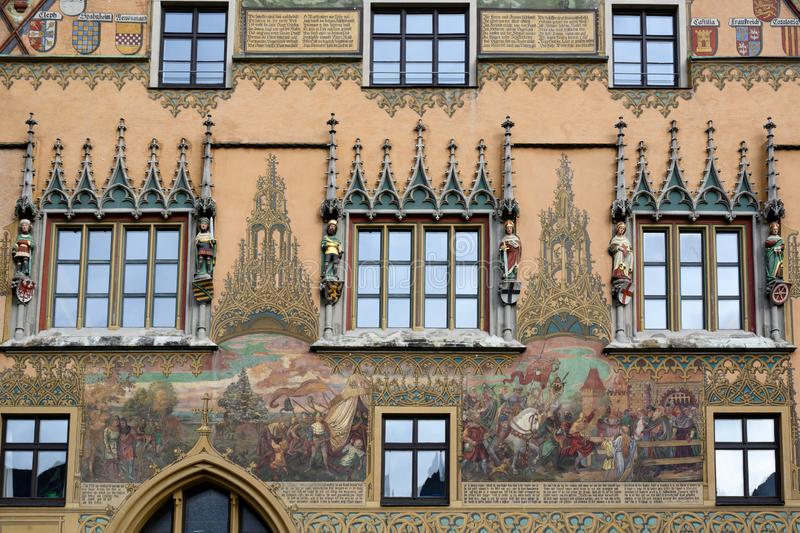 Part of historic Town Hall with beautiful paintings, Ulm, on Romantic Road in South Germany royalty free stock photos