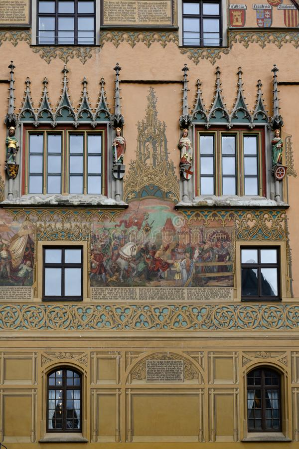 Part of historic Town Hall with beautiful paintings, Ulm, on Romantic Road in South Germany stock photography