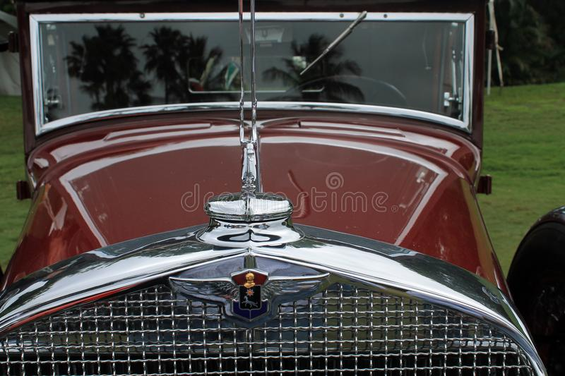 Opulent vintage American car front detail. Opulent classic American car front detail. 1930s LaSalle roadster at show royalty free stock photo