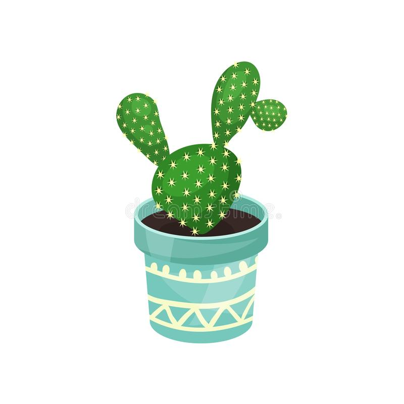 Opuntia houseplant cactus, green potted plant vector illustration royalty free illustration