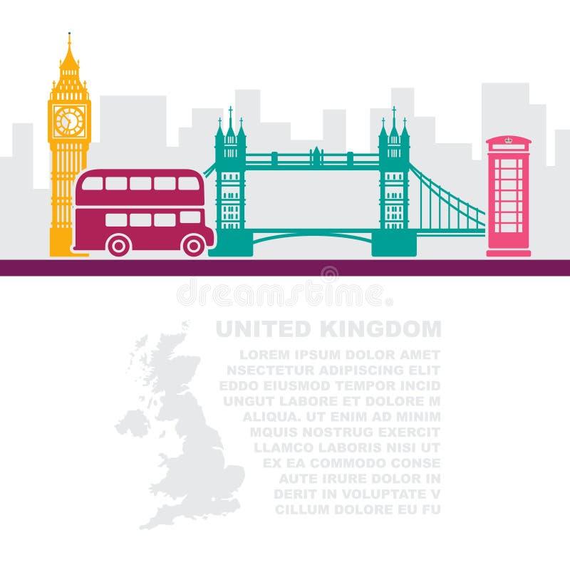 Opuscoli del modello con una mappa della Gran Bretagna ed i punti di riferimento di Londra illustrazione di stock