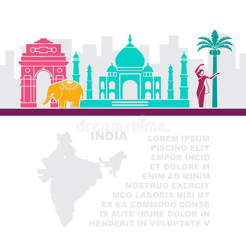 Opuscoli del modello con una mappa ed i punti di riferimento architettonici dell'India e del posto per testo illustrazione vettoriale