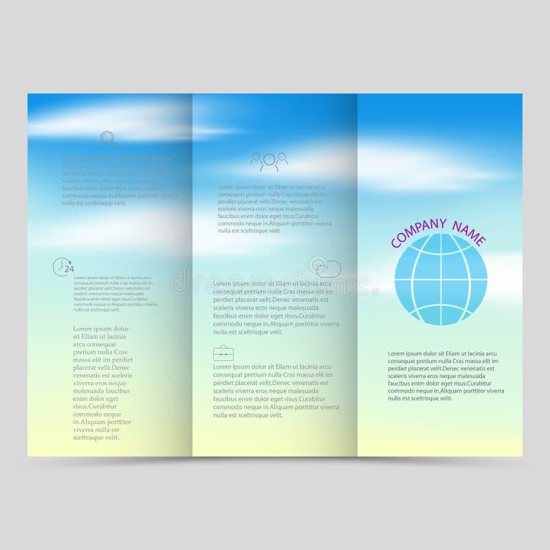 Opuscoli ripiegabili, modelli quadrati di progettazione Bella disposizione del cielo blu, illustrazione di vettore illustrazione vettoriale