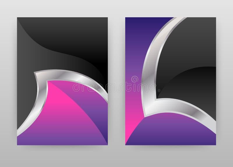 Opuscolo d'argento colorato nero grigio di progettazione di struttura del magenta porpora, aletta di filatoio, manifesto L'argent illustrazione vettoriale