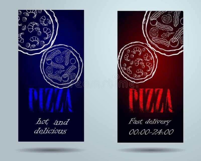 Opuscolo del caffè del menu dell'alimento della pizza royalty illustrazione gratis