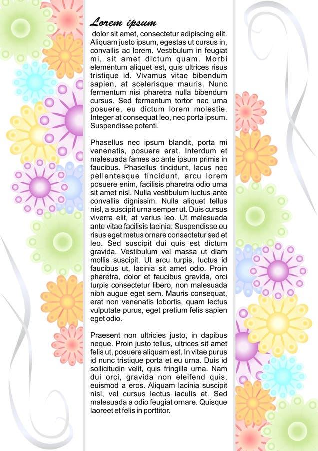 Opuscolo del progetto con i fiori pastelli variopinti illustrazione vettoriale