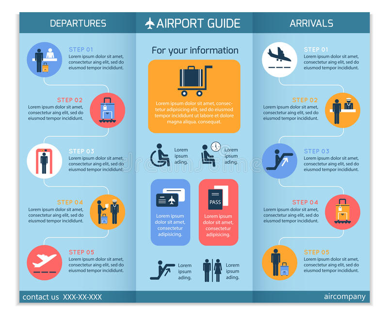 Opuscolo di Infographic di affari dell'aeroporto royalty illustrazione gratis