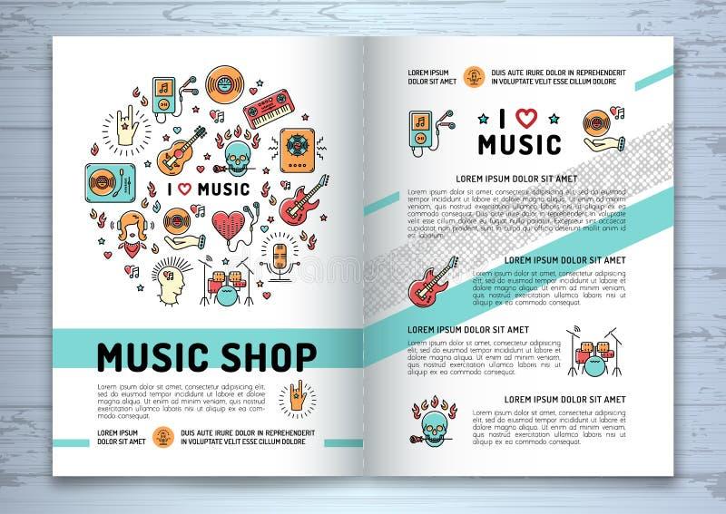 Opuscolo di musica, linea moderna stile di arte, copertura delle icone del modello illustrazione di stock